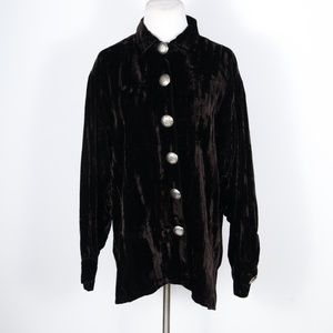 Double D Ranch Brown Crushed Velvet Shirt Jacket